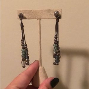 Uno de 50 beaded earrings with leather